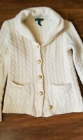 Ralph Lauren Cream Cable Knit Cardigan Sweater Large Gold Buttons Womens Size S