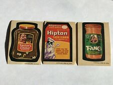 Lot of 3: 1973 Wacky Packages 4th Series: Taster's Choke, Hipton, and Fang- NICE