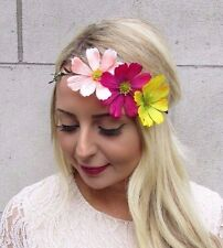 Hot Pink Peach Yellow Daisy Flower Garland Headband Hair Crown Band Boho 3562