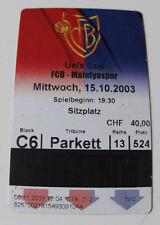Ticket for collectors EC FC Basel Malatyaspor Kulubu 2003 Switzerland Turkey