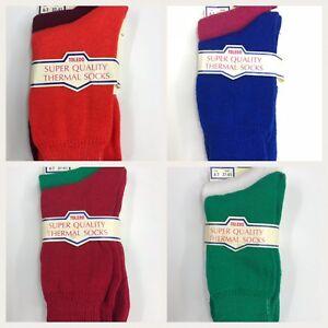 2 x  Warm Winter Thermal Knit Socks Men Women 4-7 shoe size ankle socks