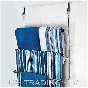 Over Door Towel Rail Bathroom Storage Rack Chrome 3 Tier Holder Door Hanging
