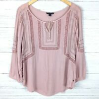 American Eagle Women's Pink Embroidered Peasant Top Lightweight Gauze Boho M