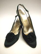 SALVATORE FERRAGAMO Sacks 5th Avenue Silk Black Sling-Back Pumps Size 8½