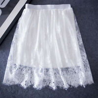Sexy White Hollow Knee Length Out Lace A-Line Summer Women Skirts