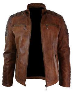 Men's Biker Vintage Style Cafe Racer Wax Distressed Brown Leather Jacket