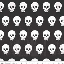 Riley Blake Geeky Chic Skull FABRIC C511-03 Black 100% Cotton halloween Pirate
