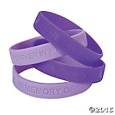 24 pc. Purple & Lavender Ribbon Memory Sayings Bracelets  Relay for Life Cancer