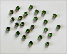 VINTAGE 24 EMERALD GREEN RHINESTONE TINY SEW ON BEADS ROSES MONTEES GERMANY 16ss