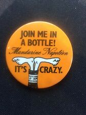 Rare Metal 1970s Badge Advertising Mandarine Napoleon Join me in a Bottle Comic