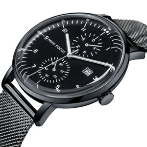 Herrenuhr Armbanduhr Edelstahl Mesh Schwarz Silber Farben Analog Quarz Uhr NEU