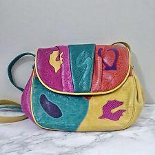 Vintage Sharif Satchel Handbag Purse Rainbow Crossbody  Leather Snakeskin Boho