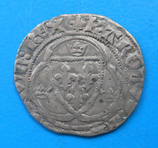 Charles VII blanc à la couronne 3ème émission Troyes , Duplessy 519B