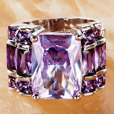 Wedding Band Women Tourmaline Gemstone 925Silver Ring Size 6 7 8 9 10 11 12 13