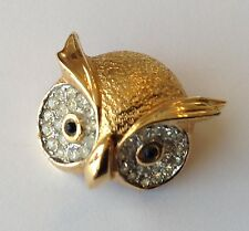 VINTAGE JOMAZ SIGNED CLEAR PAVE RHINESTONE FIGURAL OWL BROOCH