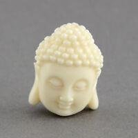 10 Buddha Head Resin Beads Ivory/Cream Imitation Coral 20mm  P00179T