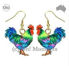 Melbourne Seller! Boho Fluro Turquoise Rooster Earrings - FREE POST!