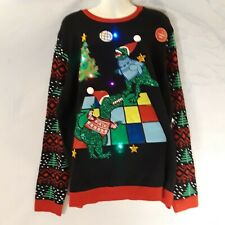 Jolly Sweater Ugly Holiday Christmas Sweater Disco Dinosaur T-Rex lite up 2X