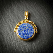 18ct Gold Plated Blue Stone Set Spinner Fob for Pocket Watch Albert Chain