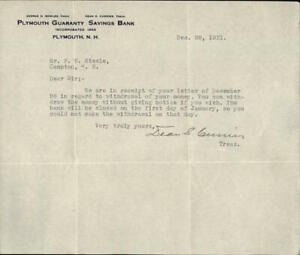 1931 Plymouth New Hampshire (NH) Letter Plymouth Guaranty Savings Bank