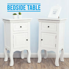 2 White Bedside Table Unit Cabinet With Drawers Open Door Storage Nightstand