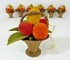 """7 Vintage Velvet Fruit Basket Wicker Look Plastic Christmas Ornament 3.5"""" Lemon"""