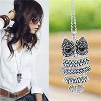 Woman Owl Splice Design Fashion Pendant Vintage Silver Long Chain Necklace