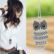 Woman Owl Splice Design Fashion Pendant Vintage Silver Long Chain Necklace