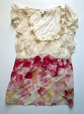 Anthropologie EUC Museum Wings Blouse by Odille - Pink Petals Silk - SZ 0