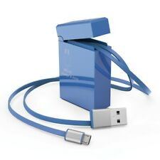 75cm Retractable Micro USB Data&Sync Charger Charging Cable For Cell Phone Blue