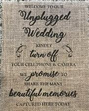 "Primitive Unplugged Wedding Rustic Country Barn Burlap Banner Panel Sign 8""x10"""