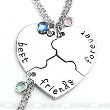 3pcs/set Puzzle Heart Friendship Best Friends Forever and Ever Pendant Necklace