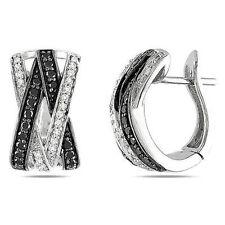 Sterling Silver 1/2 CT Black & White Diamond Ear Pin two-tone Hoop Earrings