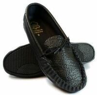 Mens Black or Tan Leather moccasins Slippers  Made In UK Sizes 6-12