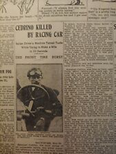 MAY 30, 1908 NEWSPAPER PAGE #7675- EMANUEL CEDRINO KILLED DURING SPEED TRIAL