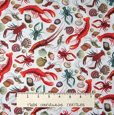 Animal Fabric - Under the Sea Lobster Shell Gray-Blue - Elizabeth's Studio YARD