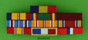 WWII Navy Philippines Service Mounted 10 Ribbon Bar - WW2