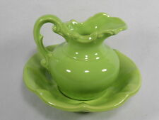 Vintage McCoy Pottery Bright Lime Green Stoneware Pitcher and Wash Basin,USA