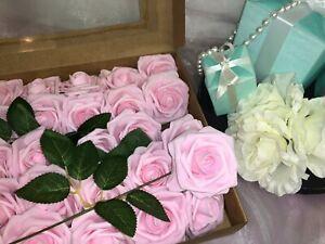 Artificial Flower Pink Roses 25pcs Real Looking Fake Rose W/Stem Wedding Bridal