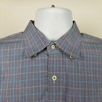 Peter Millar 100% Cotton Mens Multi Color Check Plaid Dress Button Shirt Large L
