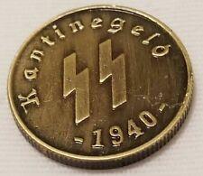 RARE NAZI 50 REICHSPFENNIG 1940 KANTINEGELD SS GERMAN COIN HITLER WW2
