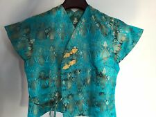 Traditional Turquoise Chinese Oriental Satin Short Sleeve Top Cheongsam Waitress