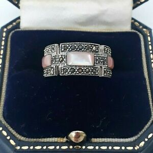 VINTAGE STERLING SILVER ART DECO MARCASITE MOTHER OF PEARL GEOMETRIC SIZE N RING