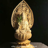 "11"" China Natural Boxwood Hand Carving Kwan Guan Yin Goddess Buddha Boddhisattva"
