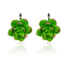 Lovely Succulent Plants Shape Hoop Earrings For Women Soft Clay Jewelry Gift