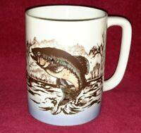 Vtg Signed Otagiri Japan Large Mouth Bass Lake Fish Jumping Scene Coffee Cup Mug