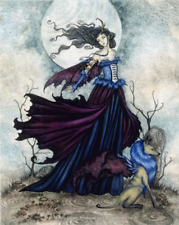5641 Amy Brown The Moon Is Calling Fairy Wolf Fantasy Wings Art Sticker / Decal