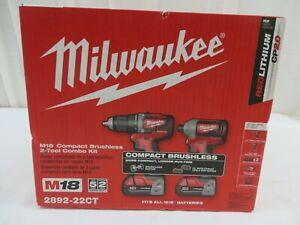 Milwaukee 2892-22CT M18 18V Brushless Drill Driver/Impact Driver Combo Kit