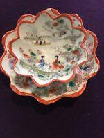 Pair Of Antique Japanese Porcelain Bowl w/ Geisha Girls & Floral Decoration