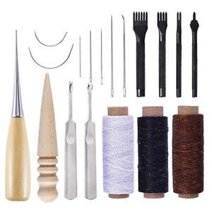 18Pcs Kit Outils de bricolage Couture cuir Artisanat DIY poinçon de découpant
